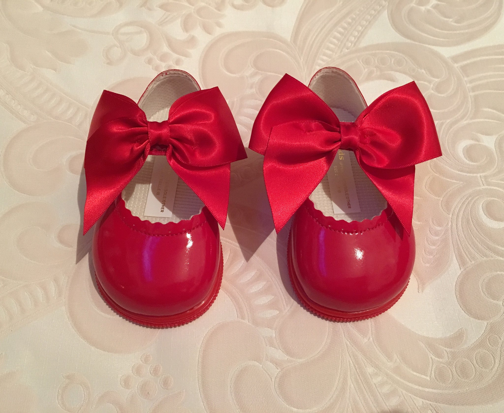 Red Bow Alessia Hard Sole Shoes