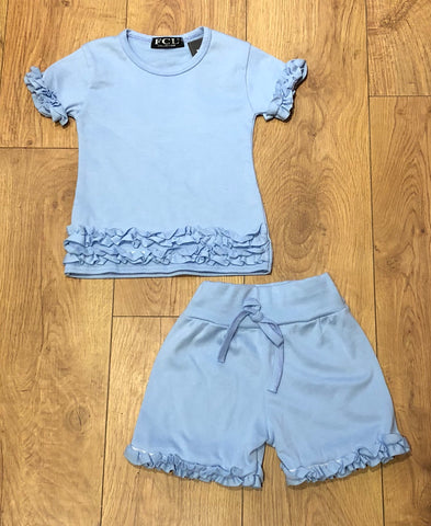Blue Ruffle Shorts Set