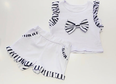 White Jasmine Bow Shorts Set
