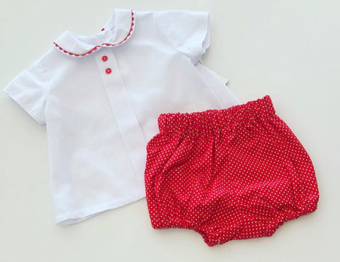 Red Spotted Bobby Jam Pants & Shirt Set