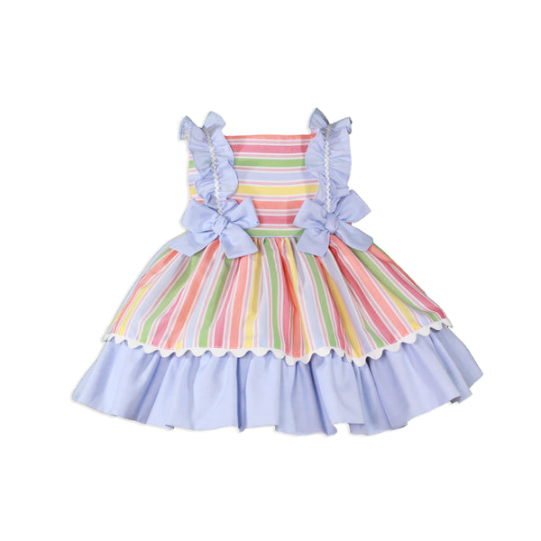 Miranda Baby Girls Rainbow Stripe Puffball Dress