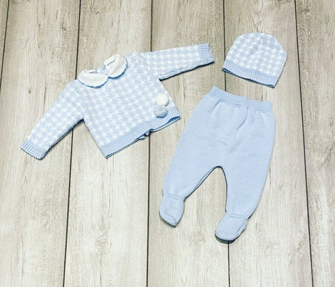 Blue Cassidy Knitted 3 Piece Set