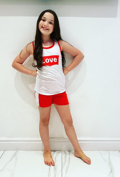 Red Love Shorts Set