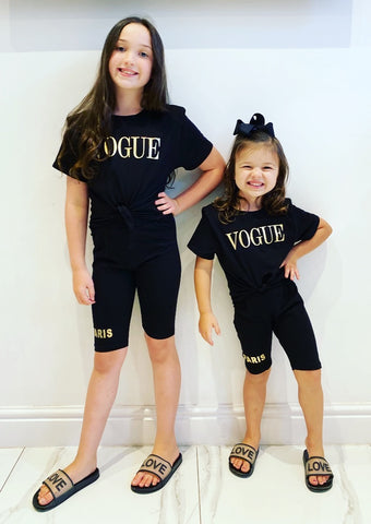 Black Vogue Tie Top Shorts Set