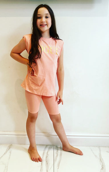 Peach Vogue Shorts Set