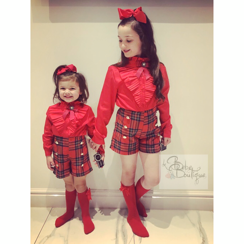 Red Romia Shorts & Shirt Set