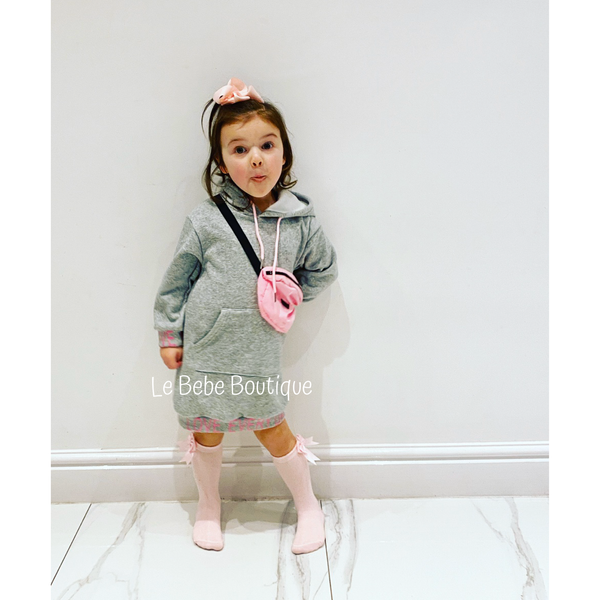 Grey Bellina Hoodie Dress & Bag Set