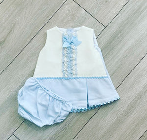 Eva Class Blue Doncia Baby Dress with Knickers 1051
