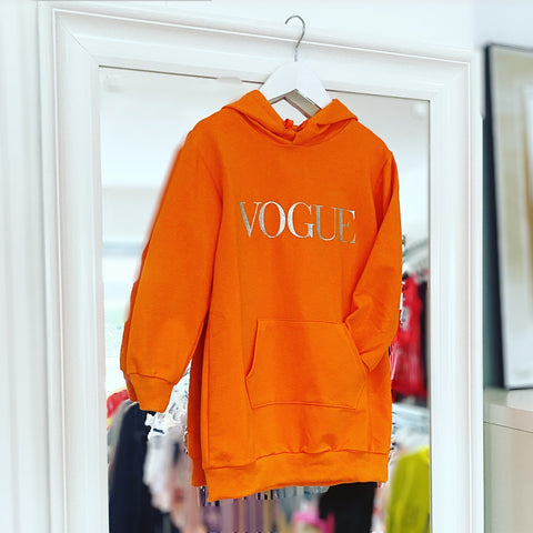 Orange Vogue Hoodie Dress