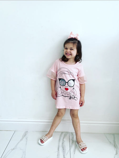 Pink Girl Boss TShirt Dress