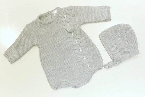 Grey Valente Pom Knitted Romper with Bonnet