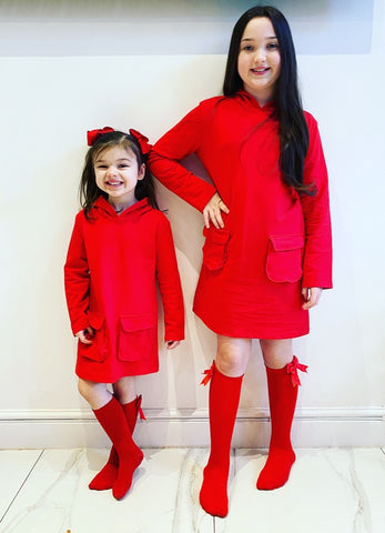 Red Elivra Hoodie Dress