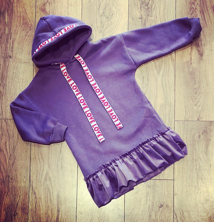 Purple Lanelle Hoodie Dress