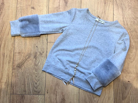 Grey Tamia Fur Sleeve Jumper
