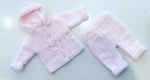 Pink Knitted Bow 2 Piece Pramsuit