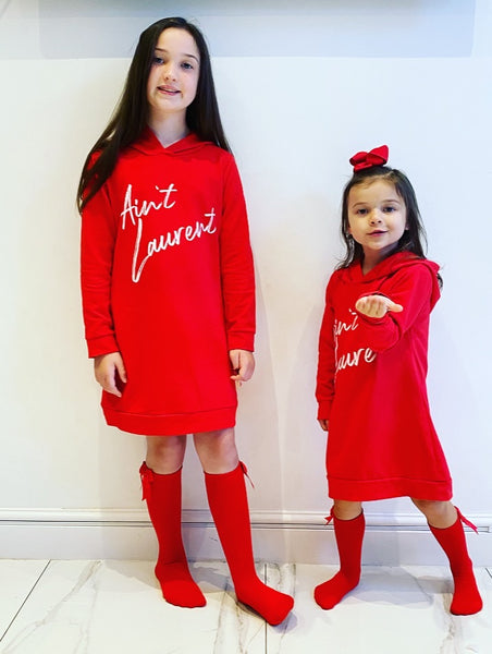 Red Laurent Hoodie Dress