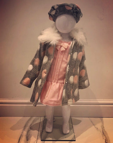 Pink Arya Dress, Coat & Beret Set