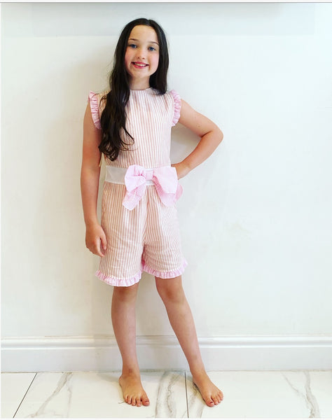 Pink Sophia Bow Playsuit