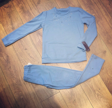 Blue Lara Beaded Tracksuit