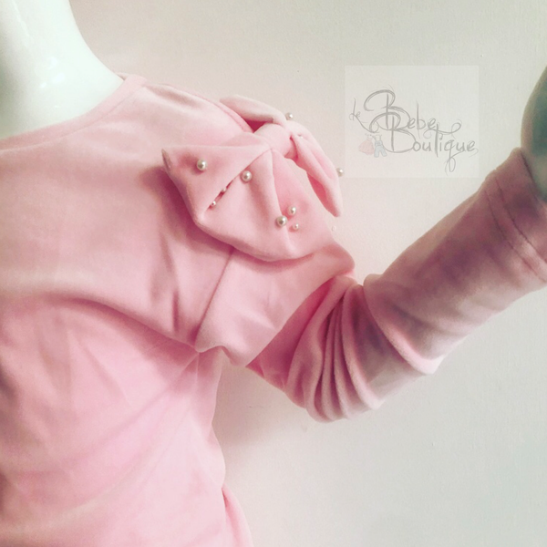 Pink Lexie (Velour) Tracksuit with Headband