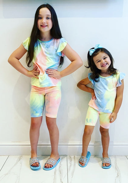 Blue/Yellow/Pink Donelle Shorts Set