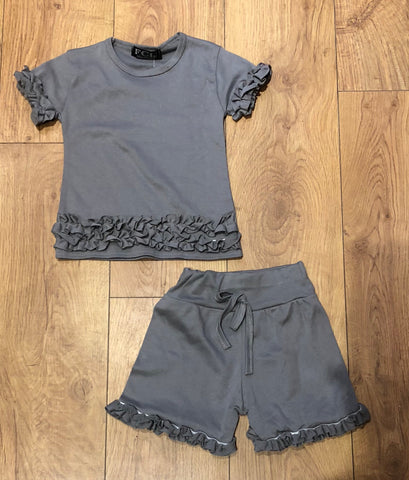 Grey Ruffle Shorts Set