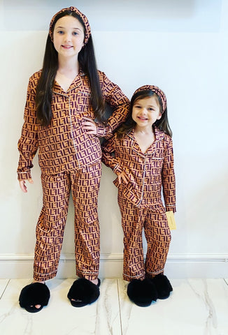 Brown Fenella Pyjama's 3 Piece Set