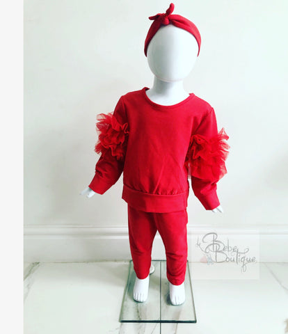 Red Lucia Ruffle Tracksuit With Headband (Baby Sizes)