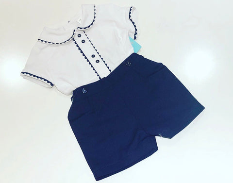 Navy Georgie Shorts Set