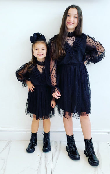 Black Lilia Spotted Dress