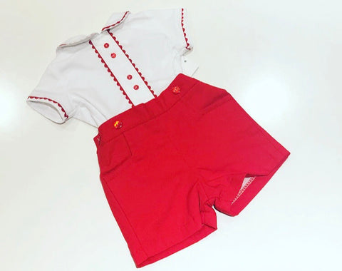 Red Georgie Shorts Set
