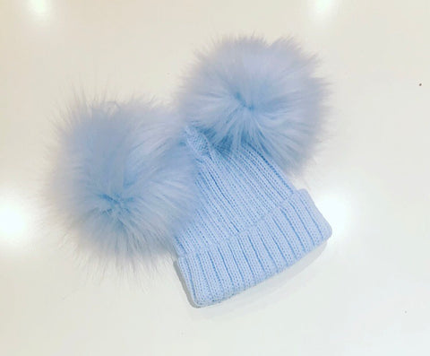 Blue Double Fur Pom Pom Hat