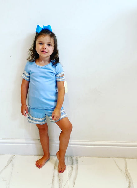 Blue Alena Shorts Set