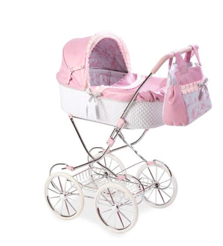 Valentina Pink Collapsible Dolls Pram