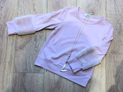 Pink Tamia Fur Sleeve Jumper