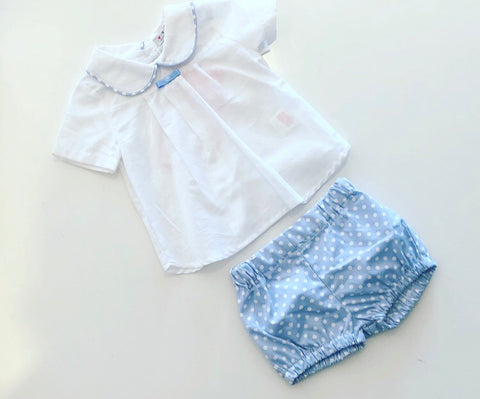 Blue Spotted Jorge Shorts Set