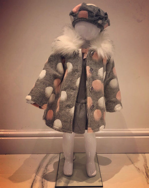 Grey Arya Dress, Coat & Beret Set