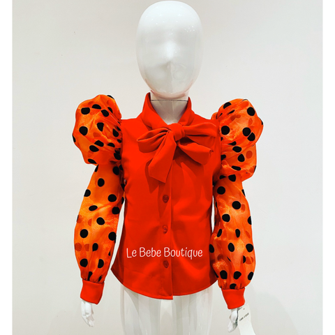 Red Elida Bow Shirt