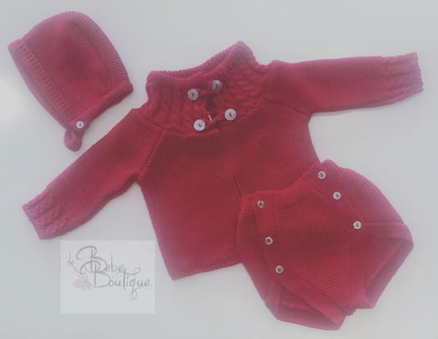 Red Marisol Knitted 3 Piece Jam Pants Set