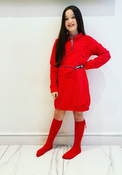 Red Dania Jumper Dress with Belt Bag