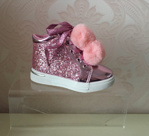 Pink Glitter Pom Pom High Tops SIZE UK1 ONLY