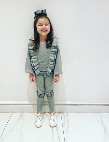 Grey Florence Frill Leggings Set