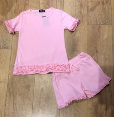 Pink Ruffle Shorts Set