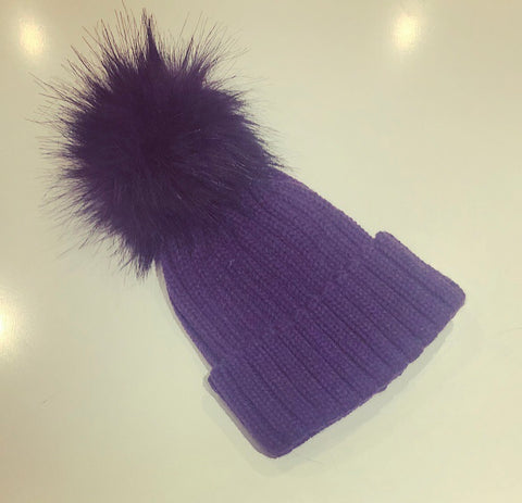 Purple Fur Pom Pom Hat
