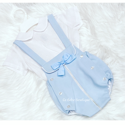 Blue Bowie Romper & Shirt Set