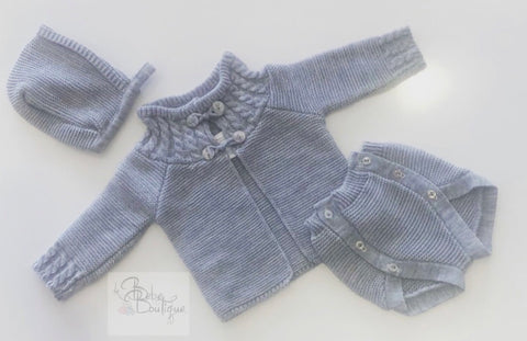 Grey Marisol Knitted 3 Piece Jam Pants Set