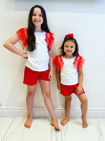 Red Pippi Shorts Set