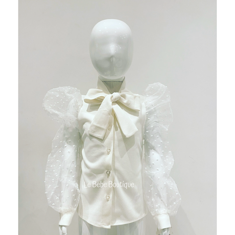White Elida Bow Shirt