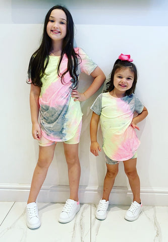 Grey/Pink Mabel Shorts Set