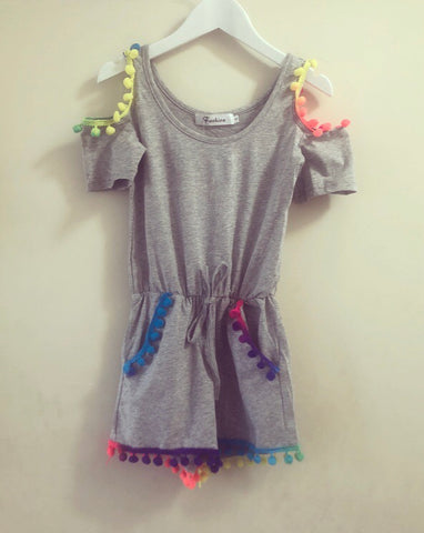 Grey Pom Pom Playsuit